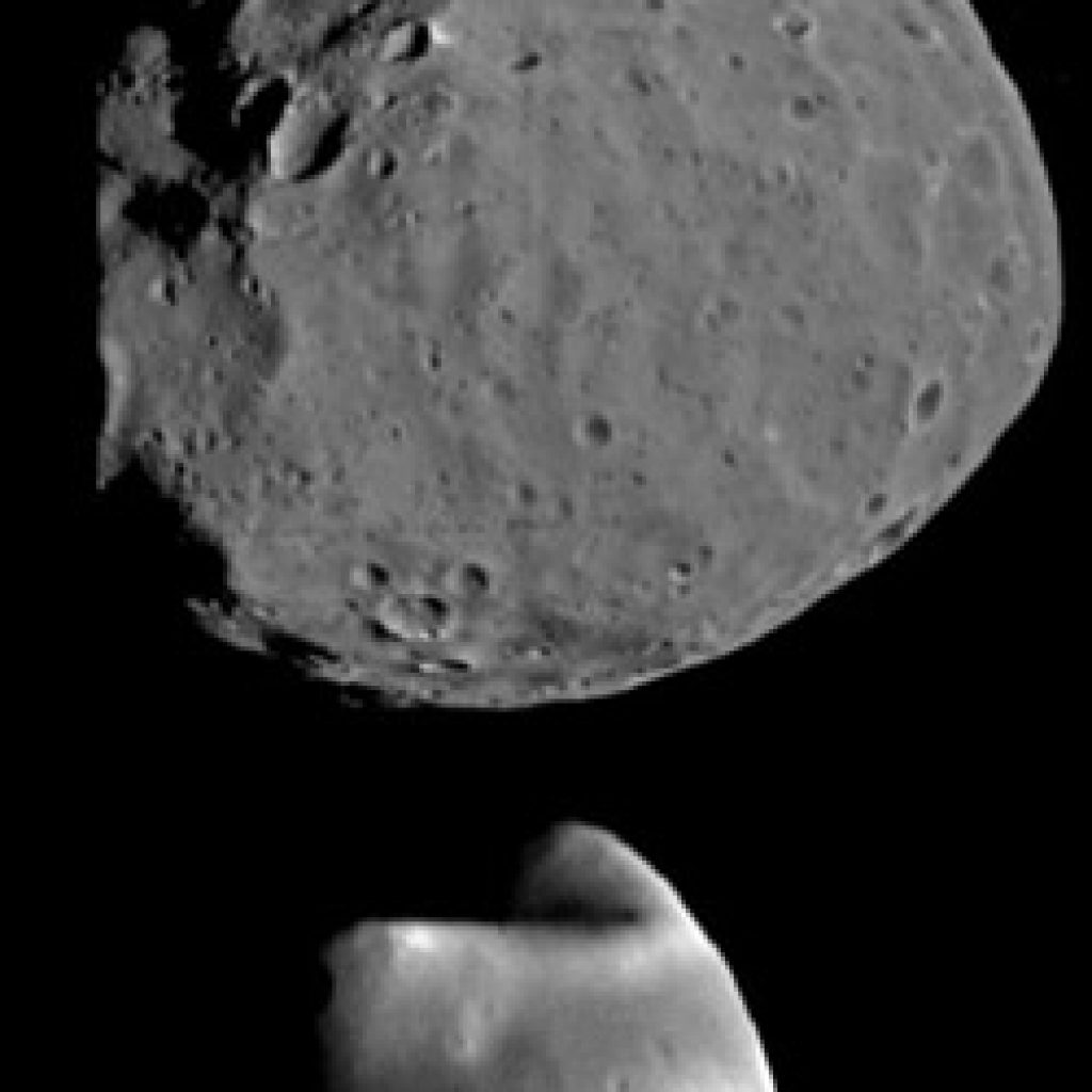 Mars has two moons named Phobos and Deimos.  These moons were likely asteroids captured by Mars. They are similar in composition to objects called carbonaceous chondrites.