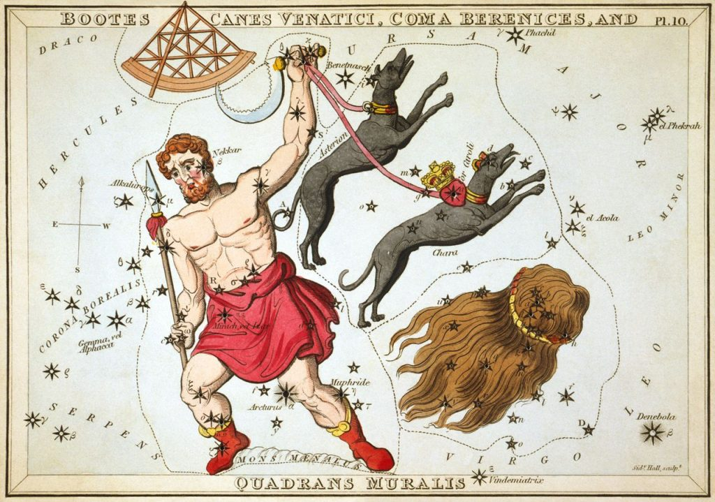 If you look straight up at 10pm tonight you will find a kite shape of stars and a bowtie shape of stars.  The kite is the constellation Bootes and the bowtie is Hercules.
