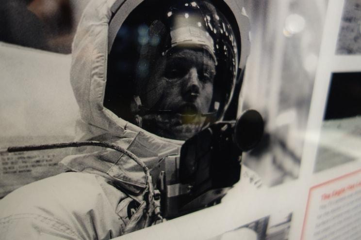 Astronaut using space camera