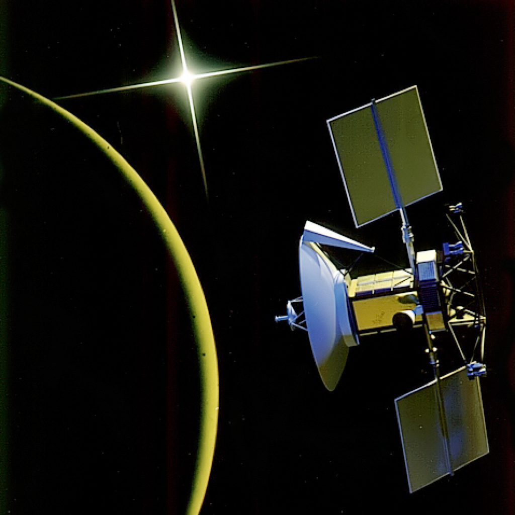 On this date in 1990 the robotic probe Magellan arrived at Venus. This probe mapped out the surface of the planet using radar. Looking to the west around 9pm you will see Venus!