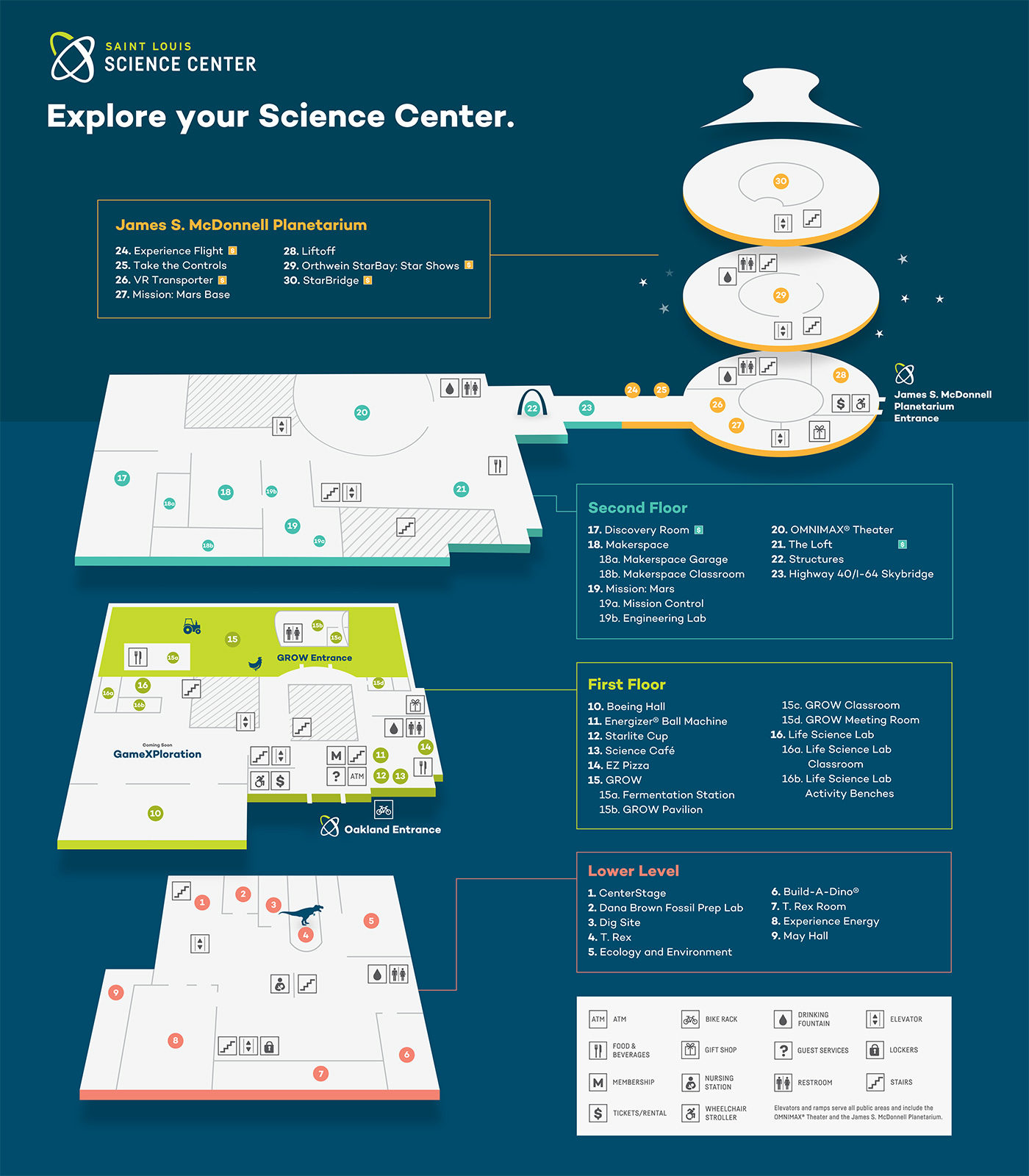 Interactive Map – Saint Louis Science Center on book center, water center, transportation center,