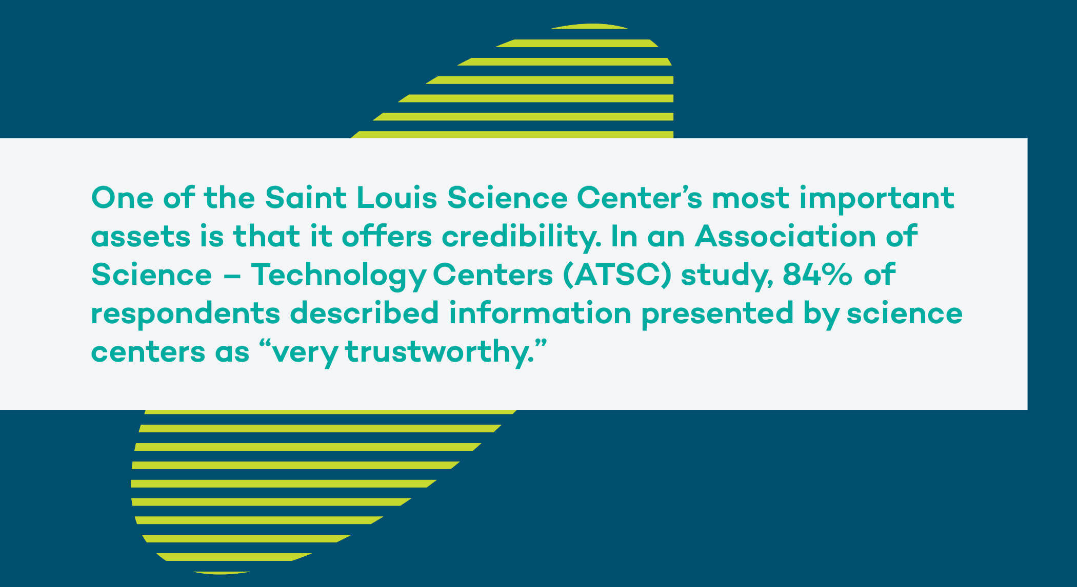 """One of the Saint Louis Science Center's most important assets is that it offers credibility. In an Association of Science – Technology Centers (ATSC) study, 84% of respondents described information presented by science centers as """"very trustworthy."""""""