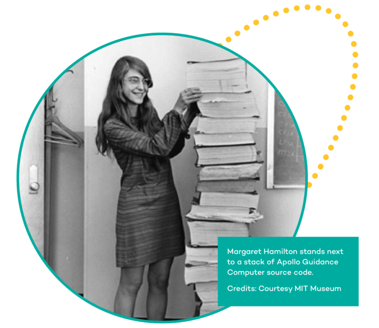 Margaret Hamilton stands next to a stack of Apollo Guidance Computer source code. Credits: Courtesy MIT Museum
