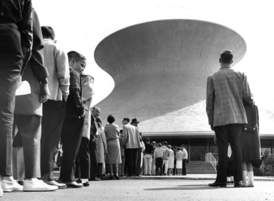 Visitors line up to visit the James S. McDonnell Planetarium on its opening day, April 16, 1963.